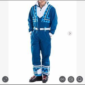Men's Tipsy Elves Ski Suit, Blue Bomber size L